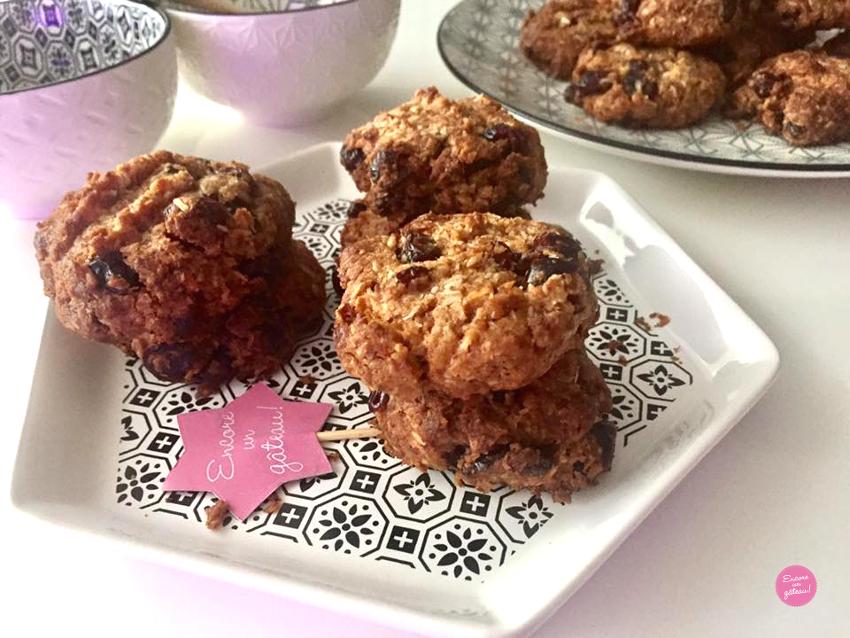 recette de Cookies healthy noix de coco cranberries