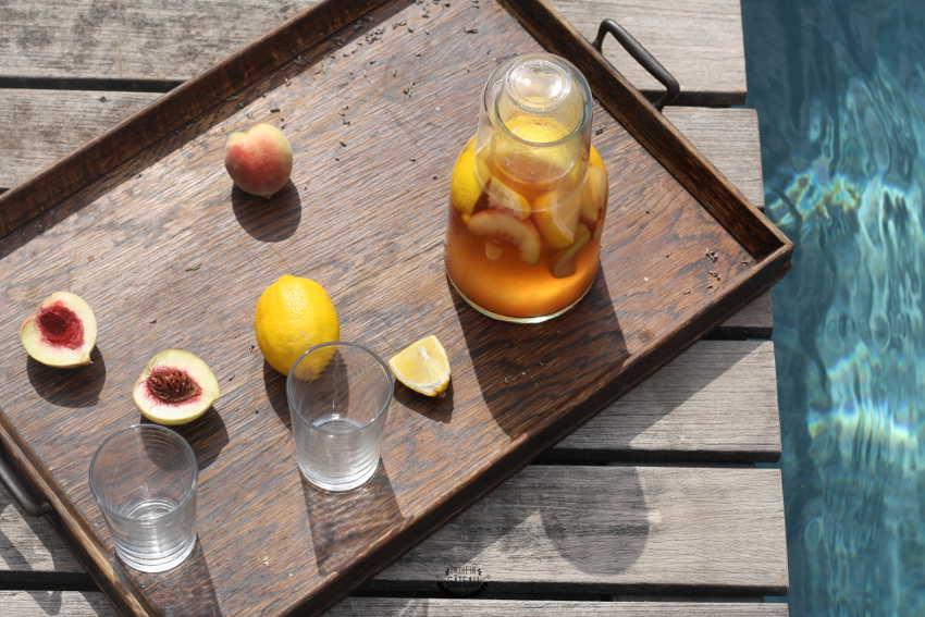 Th glac la p che ice tea maison infusion froid for Glace a la peche sans sorbetiere