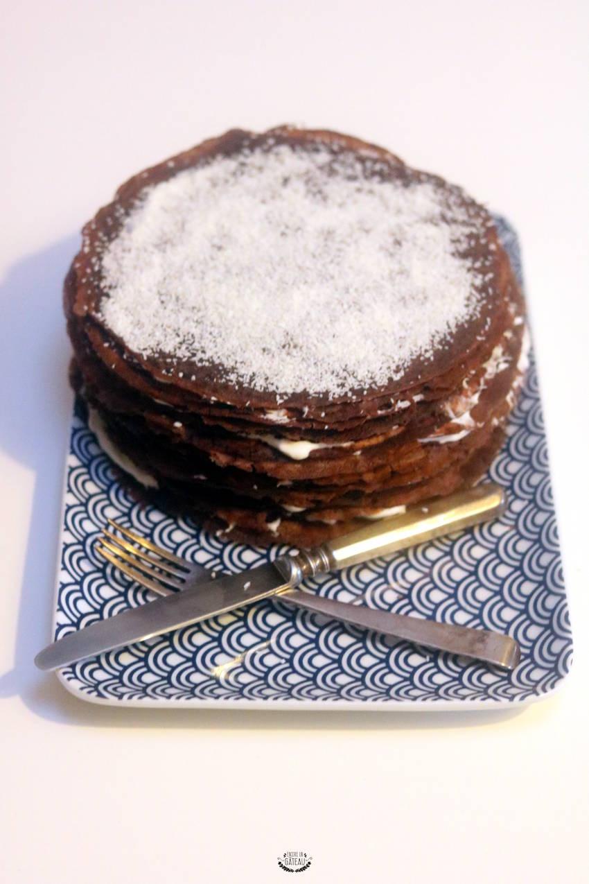 ma recette de gâteau de crêpes chocolat coco