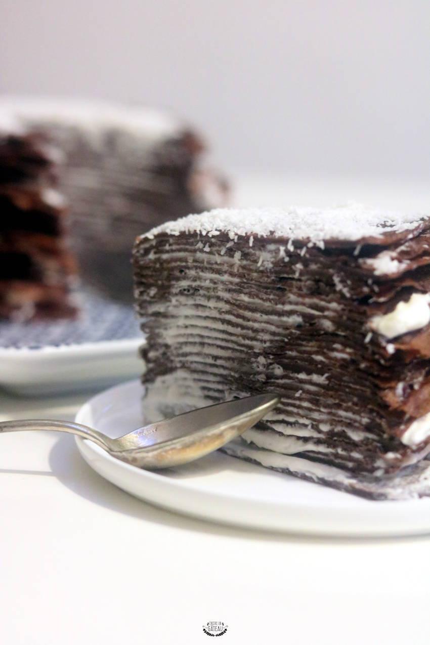 ma recette du gâteau de crêpes chocolat coco