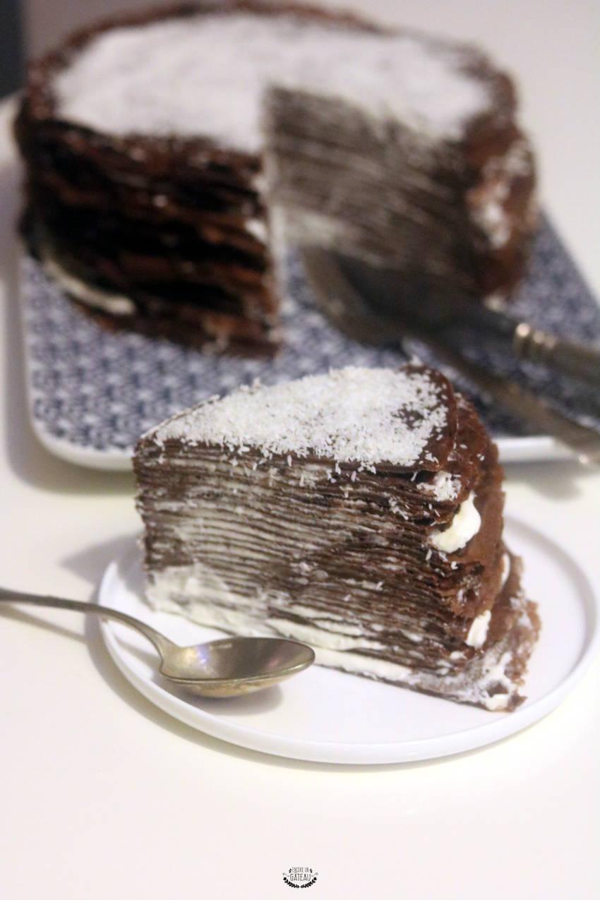 la recette du gâteau de crêpes chocolat coco