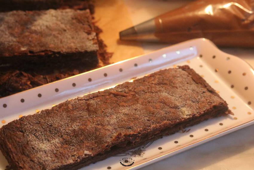 montage du millefeuille tout chocolat