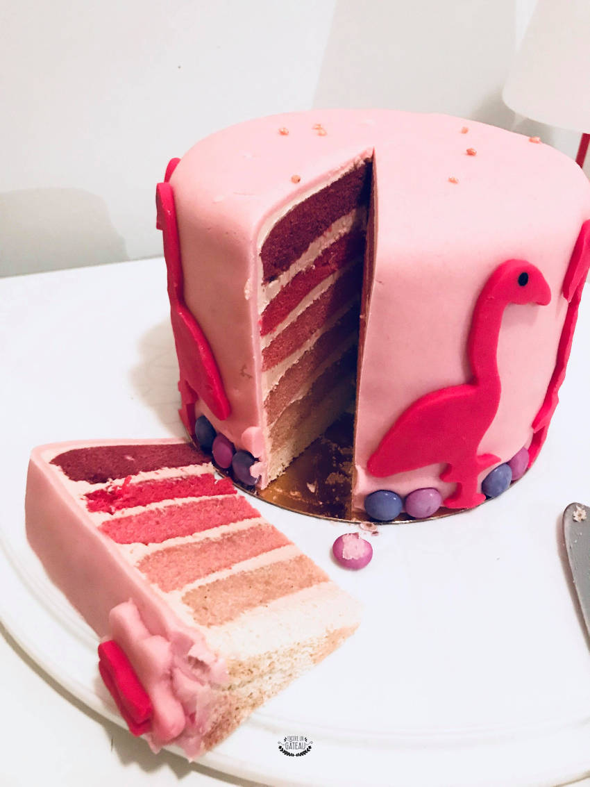 découpe rainbow cake rose gâteau flamant rose