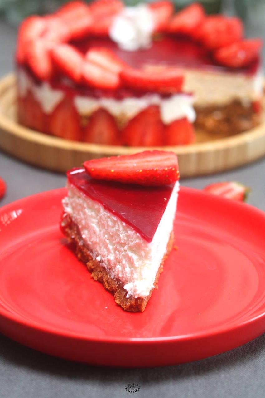 recette facile et rapide de cheesecake coco fraises