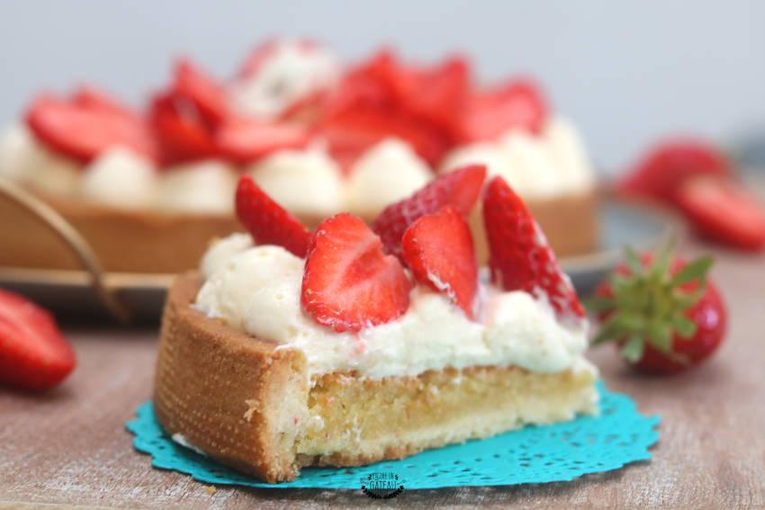 recette gourmande de tarte aux fraises crème diplomate