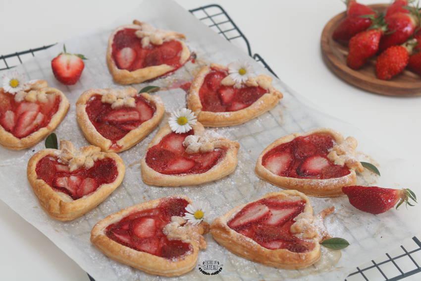 tartelettes aux fraises en forme de fraises