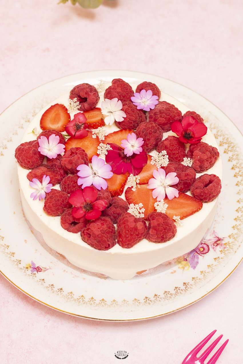 entremets sans cuisson fruits rouges et mousse fromage blanc
