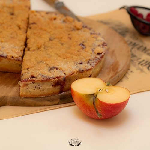 tarte crumble pommes framboises facile