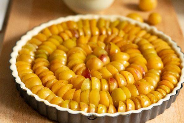 tarte aux mirabelles avant cuisson