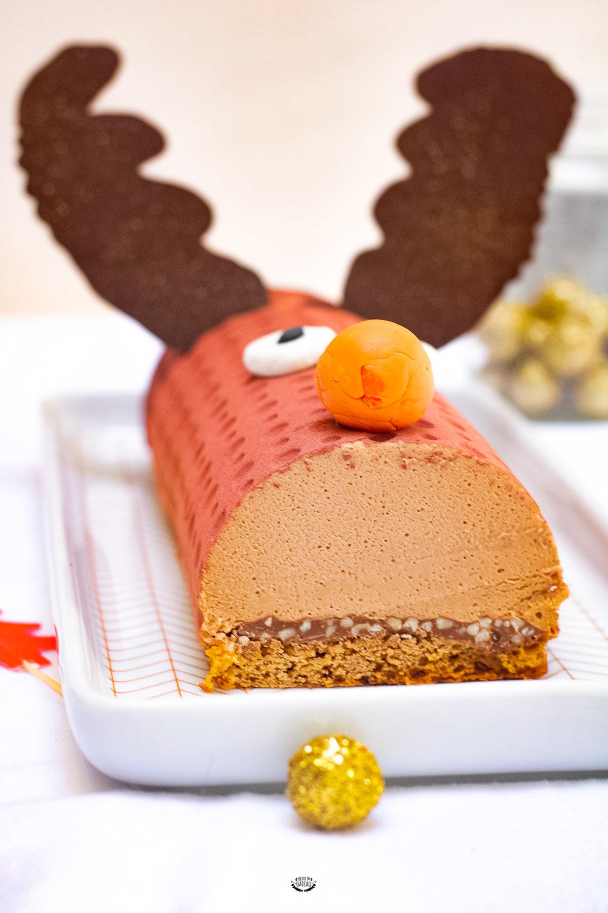bûche rudolph praliné chocolat