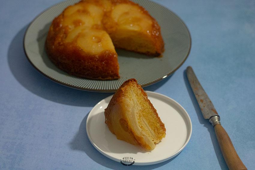 gâteau renversé aux poires caramélisées recette