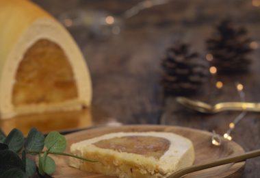 bûche de noël ganache montée dulcey insert pommes caramélisées