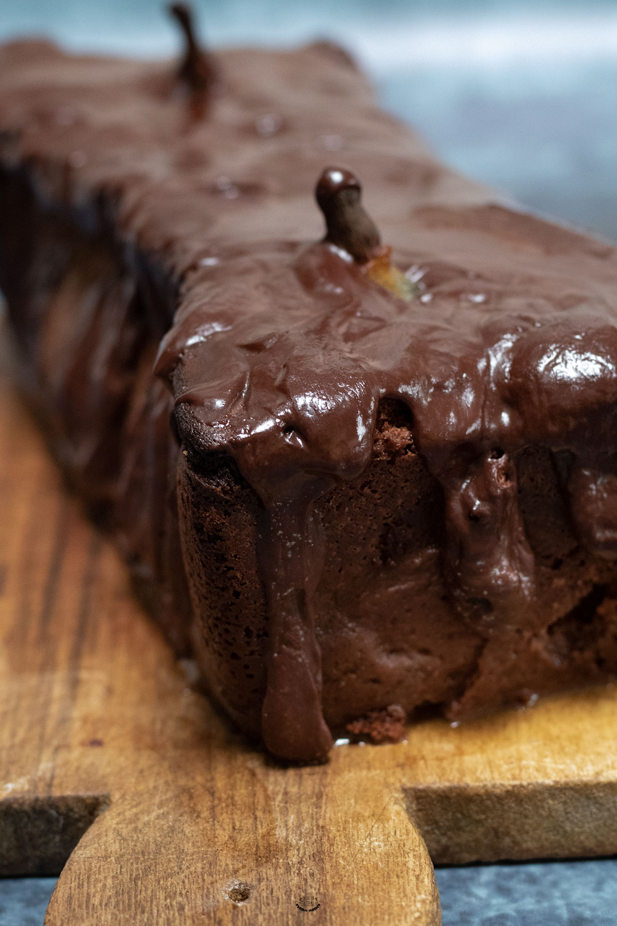cake au chocolat poires debout