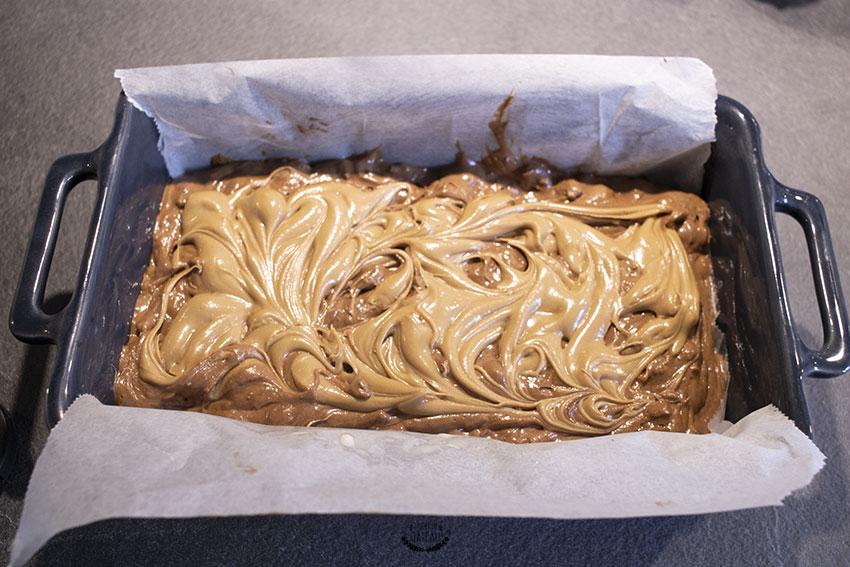 brownie marbré avant cuisson