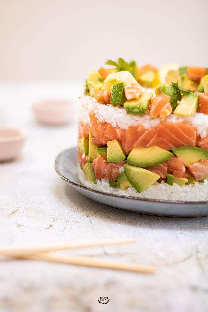 recette de sushi cake au saumon