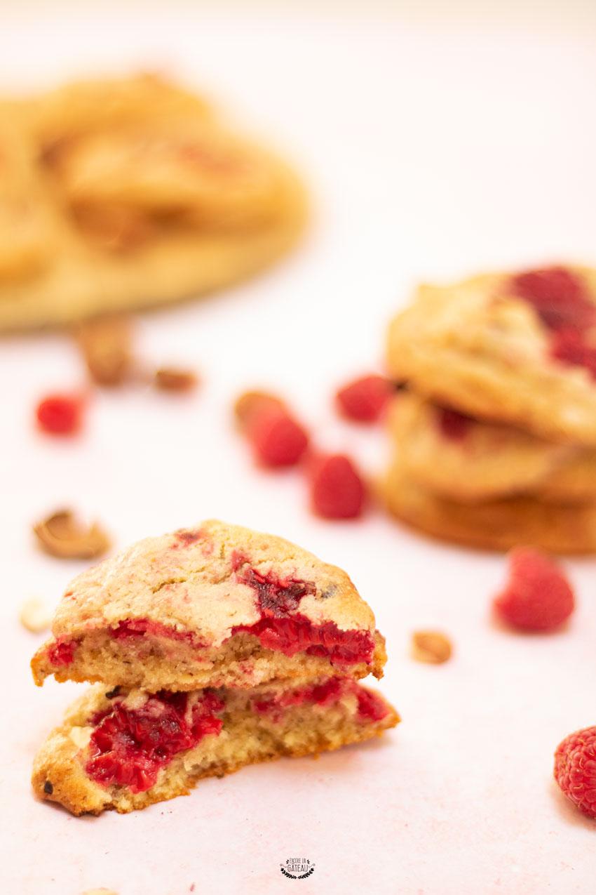 recette cookies framboises chocolat blanc noisettes