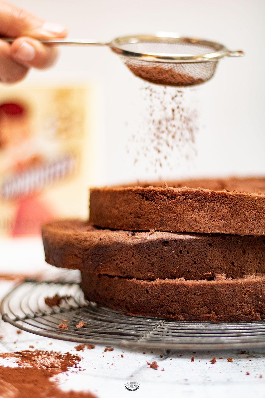 génoise chocolat haute pour layer cake