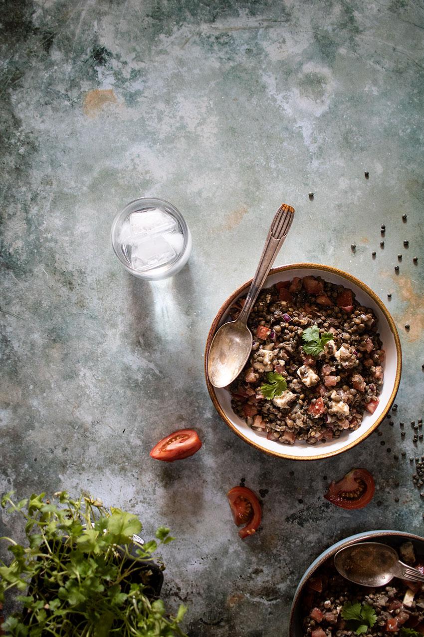lentilles vertes en salade