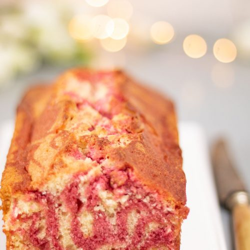 cake marbré vanille framboise