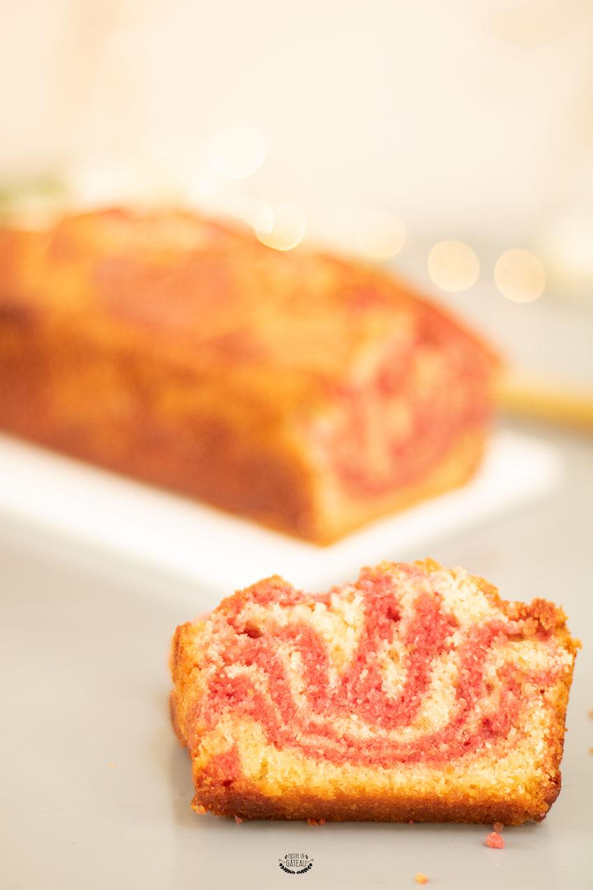 recette cake marbré vanille framboise