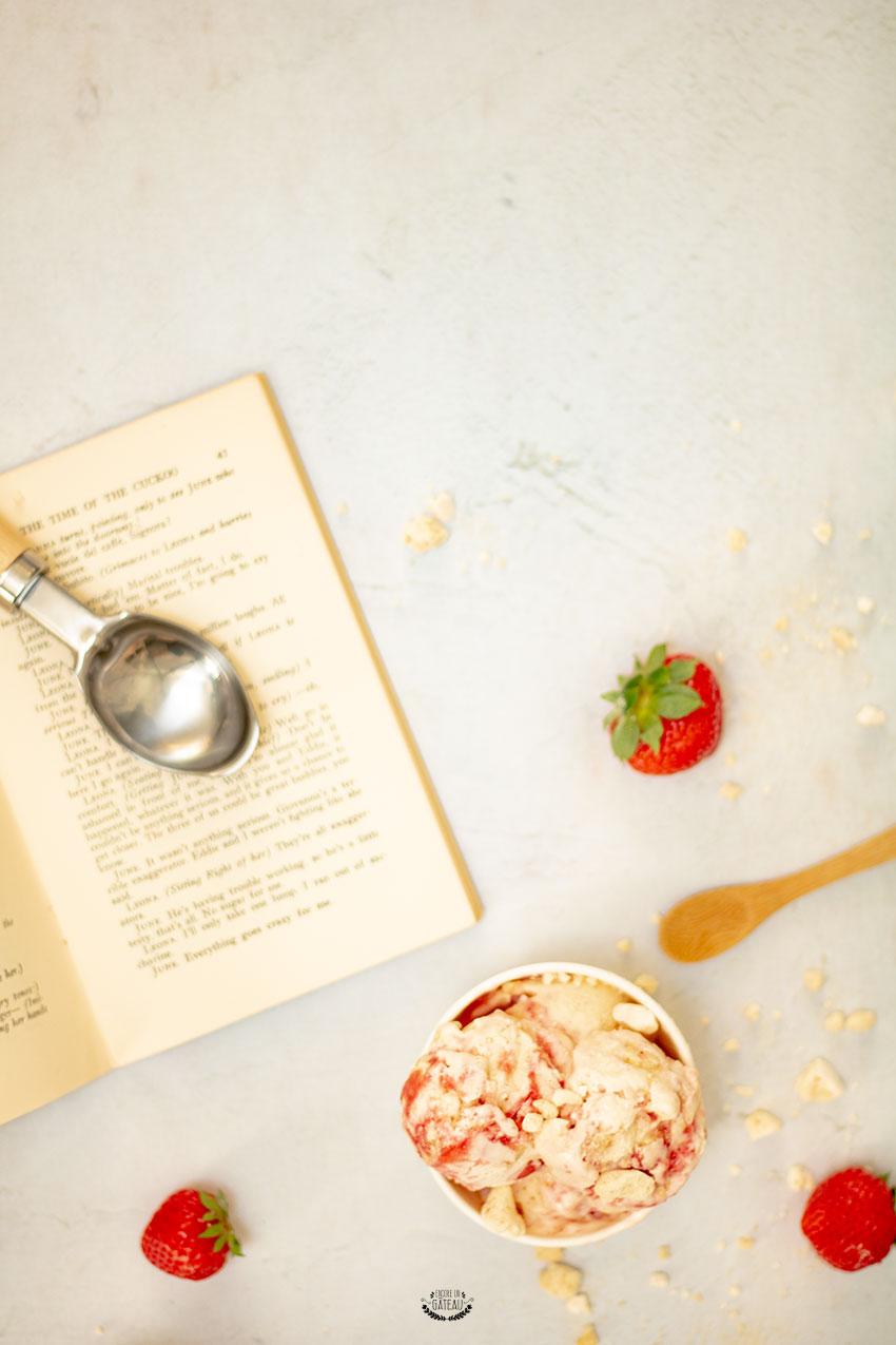 glace fraise meringue