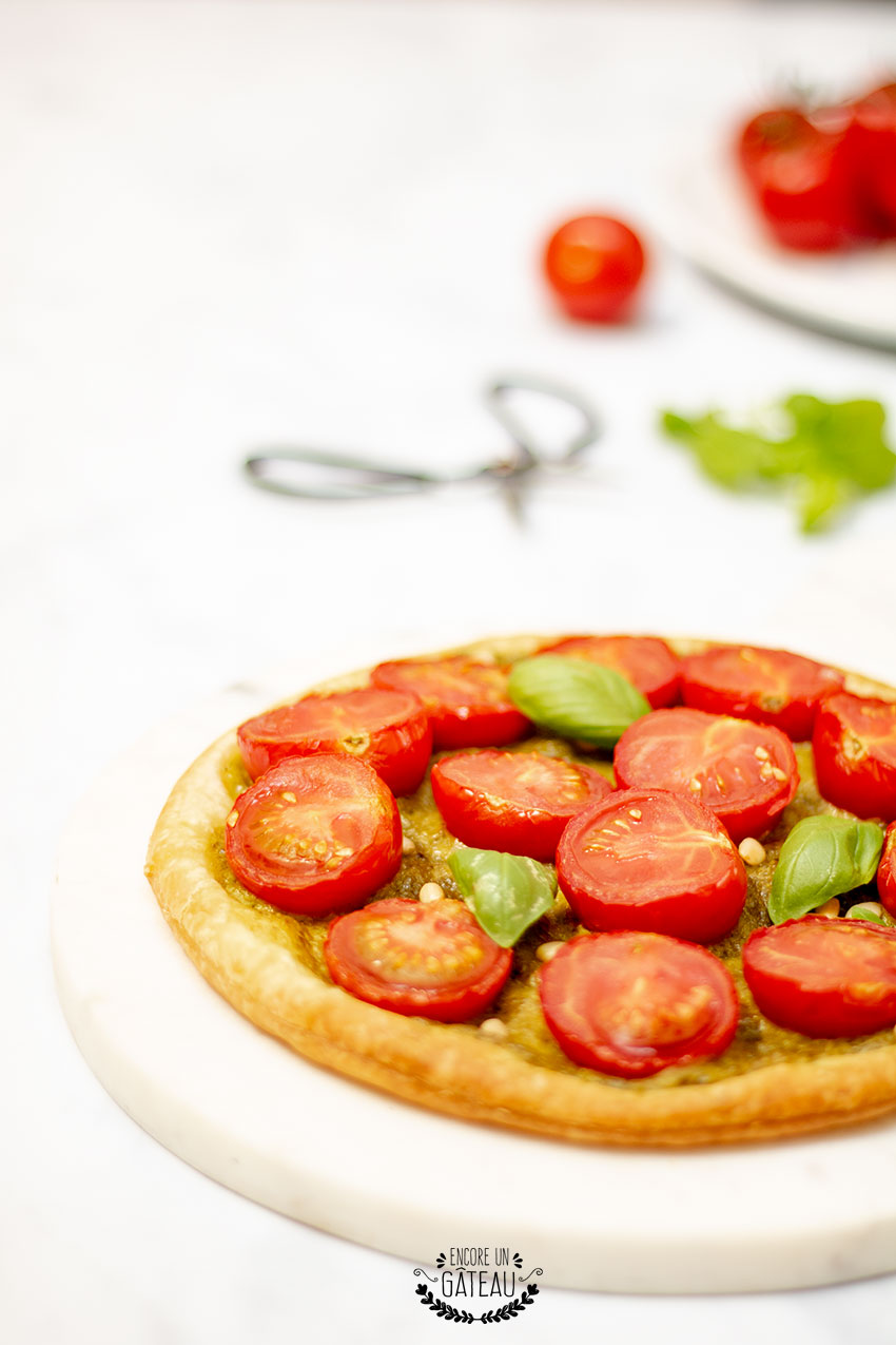 tarte fine pesto basilic tomate