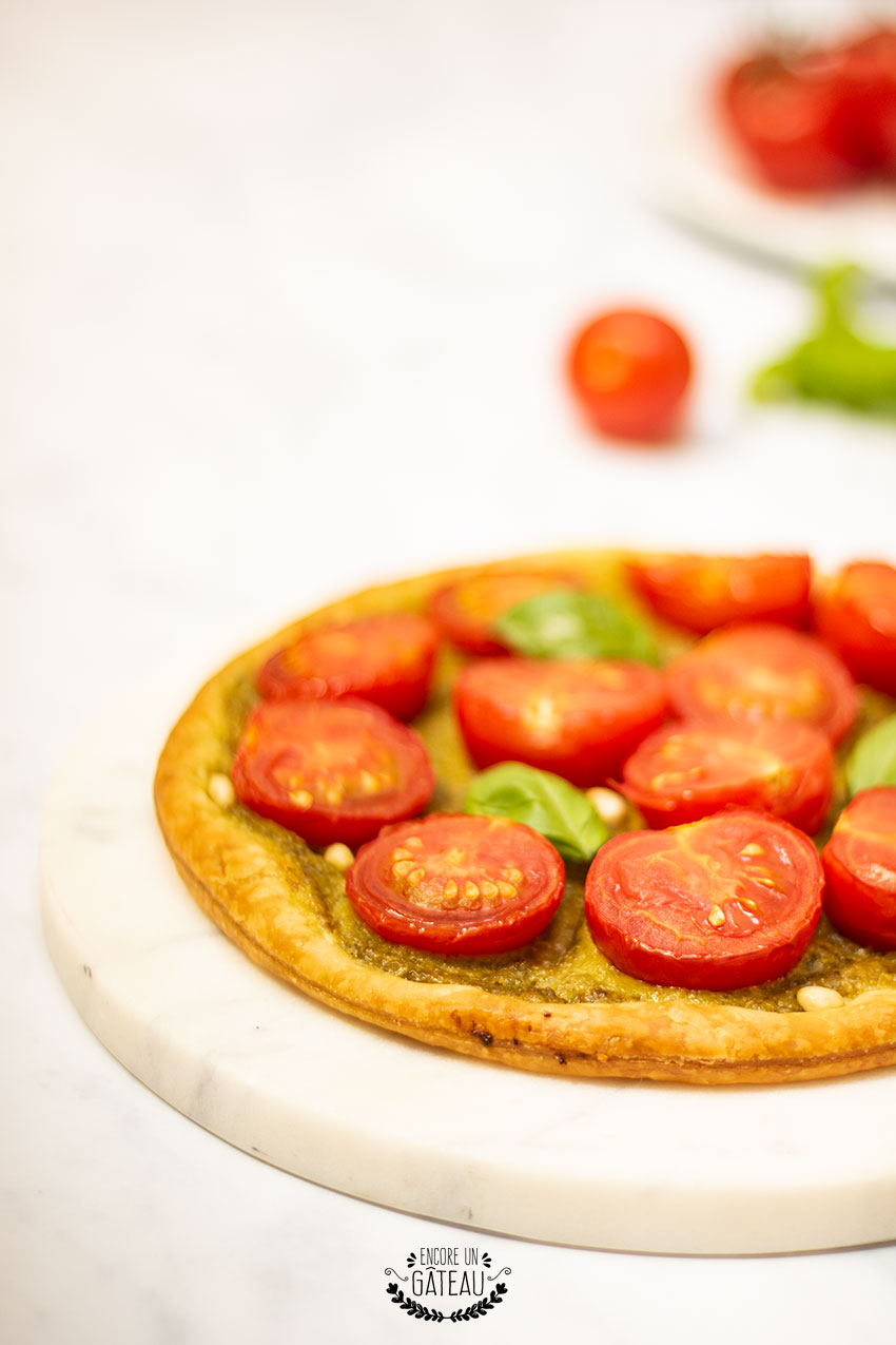 recette tarte fine pesto tomate