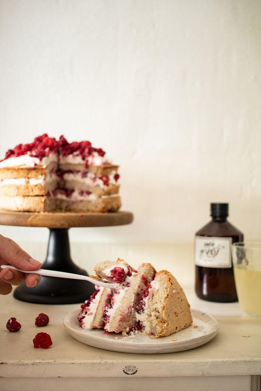 angel cake chantilly framboises