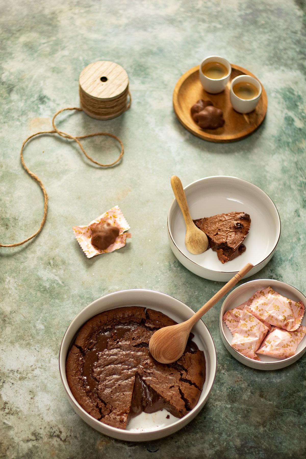 fondant au chocolat et lait concentré sucré