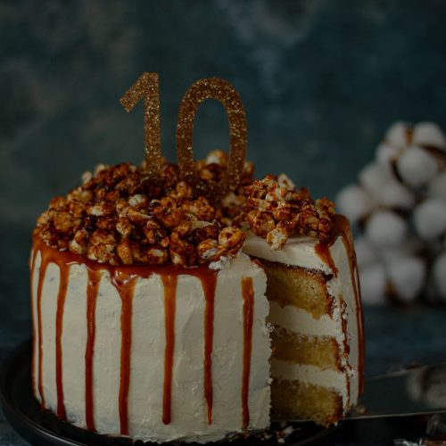 recette drip cake caramel pop-corn