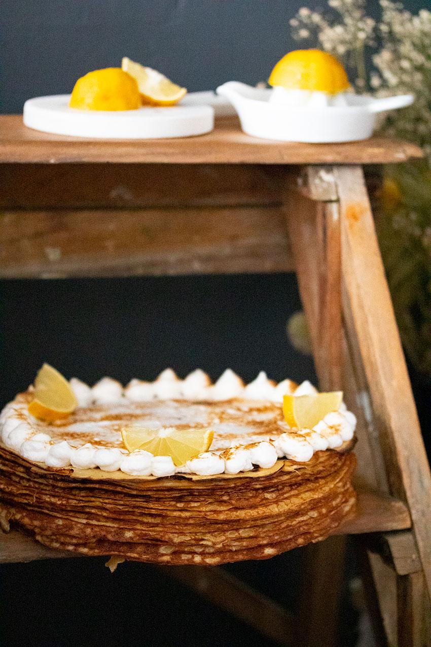 recette gâteau de crêpes citron meringué