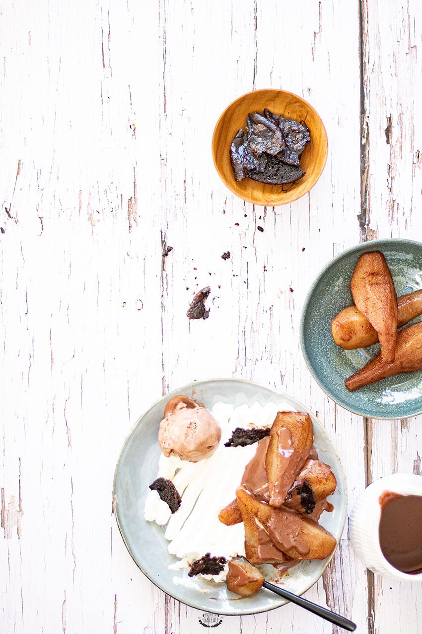 recette dessert à l'assiette poire cacao
