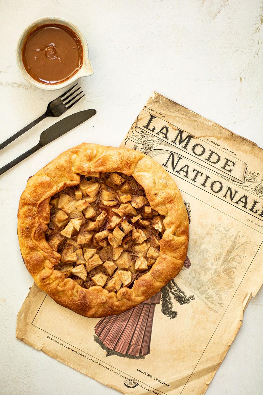 recette tarte rustique aux pommes et au caramel
