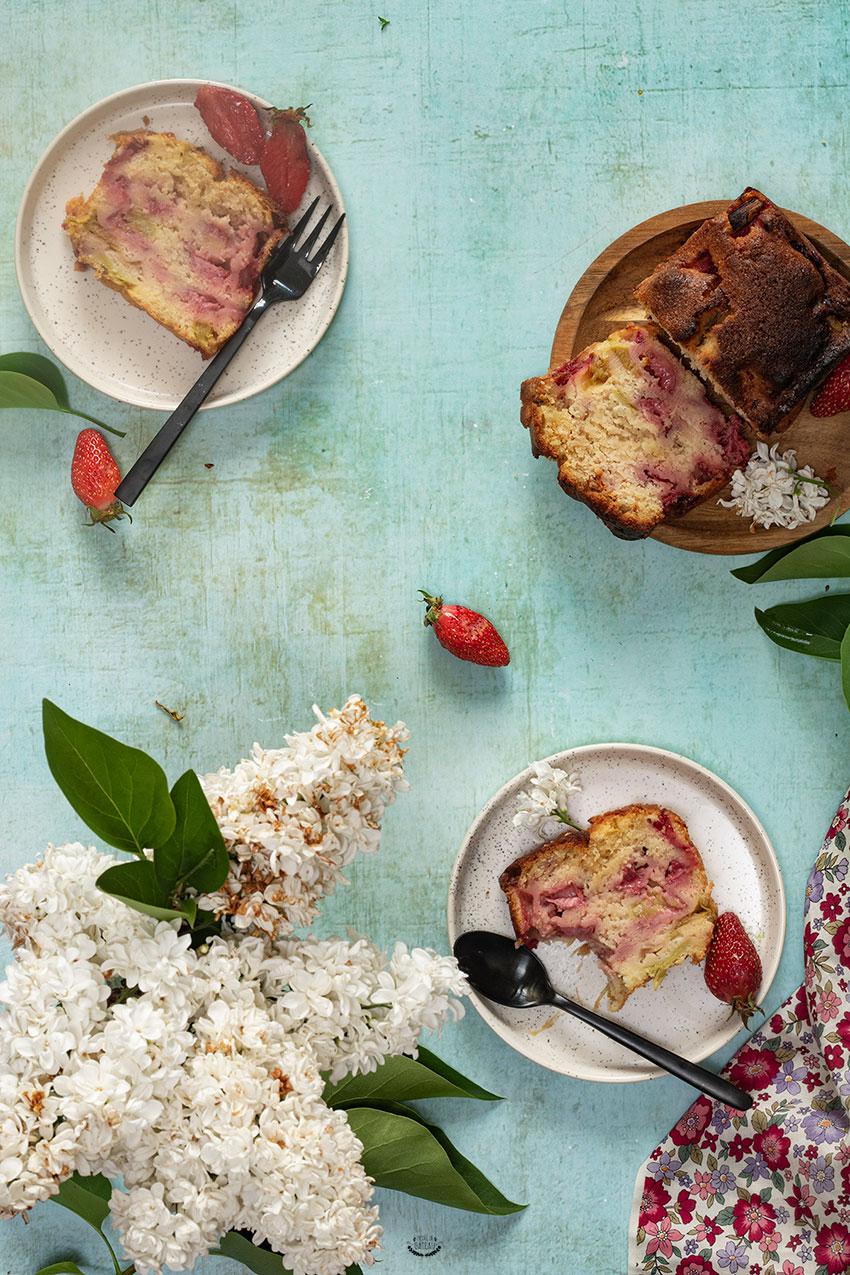 recette cake rhubarbe fraise