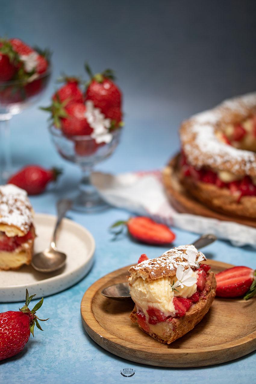 recette couronne choux crème chiboust fraise