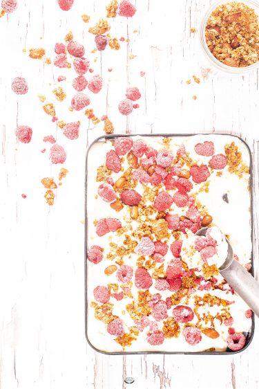 recette yaourt glace framboise granola