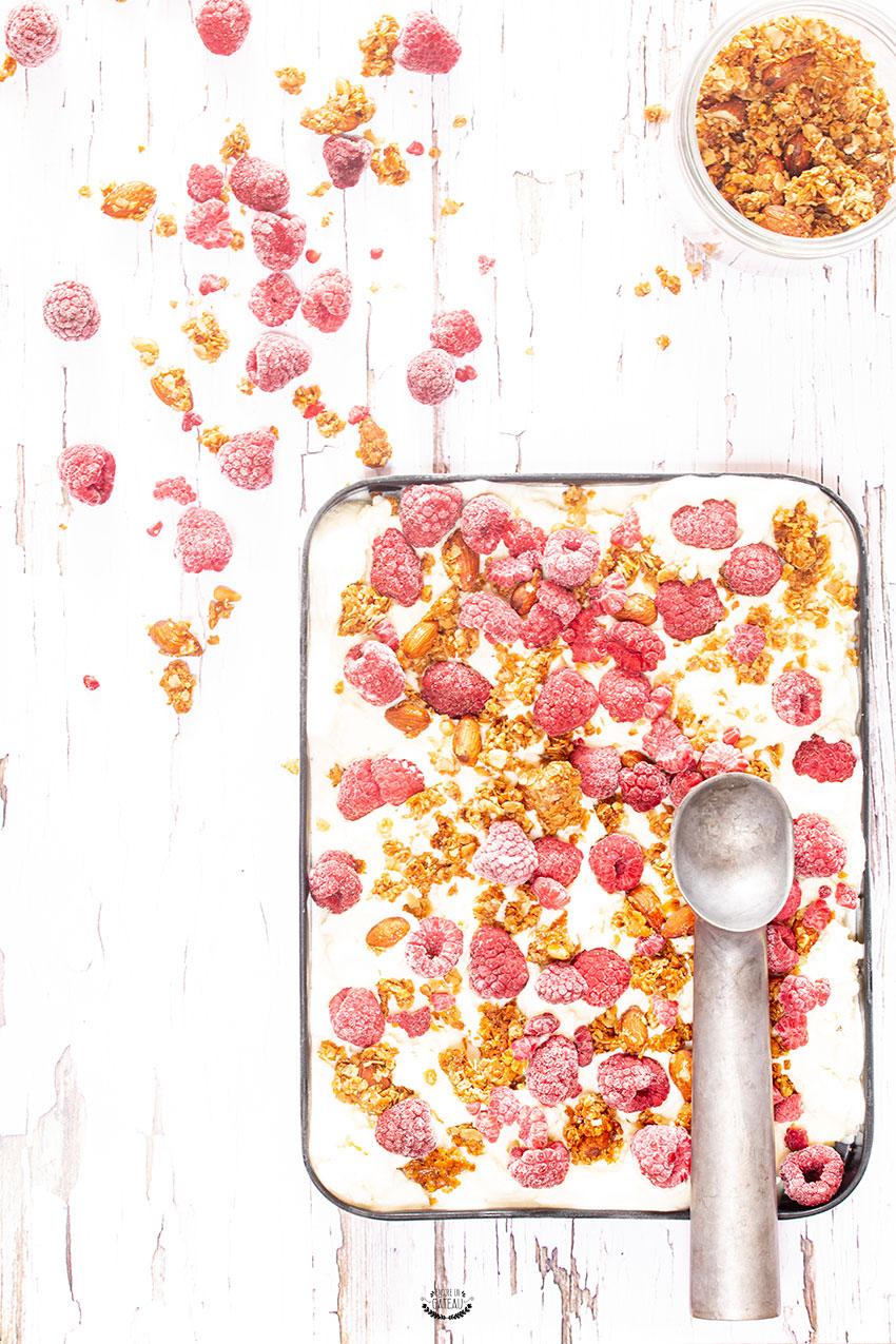glace au yaourt granola framboise