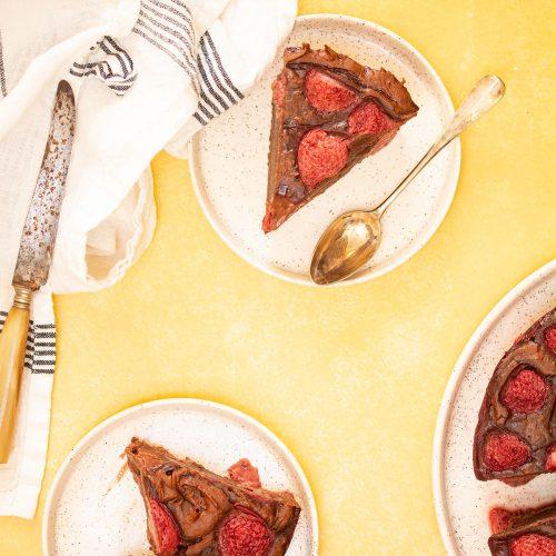 gâteau fondant chocolat fraise
