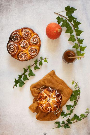 brioche roulée fourrée potimarron façon cinnamon rolls
