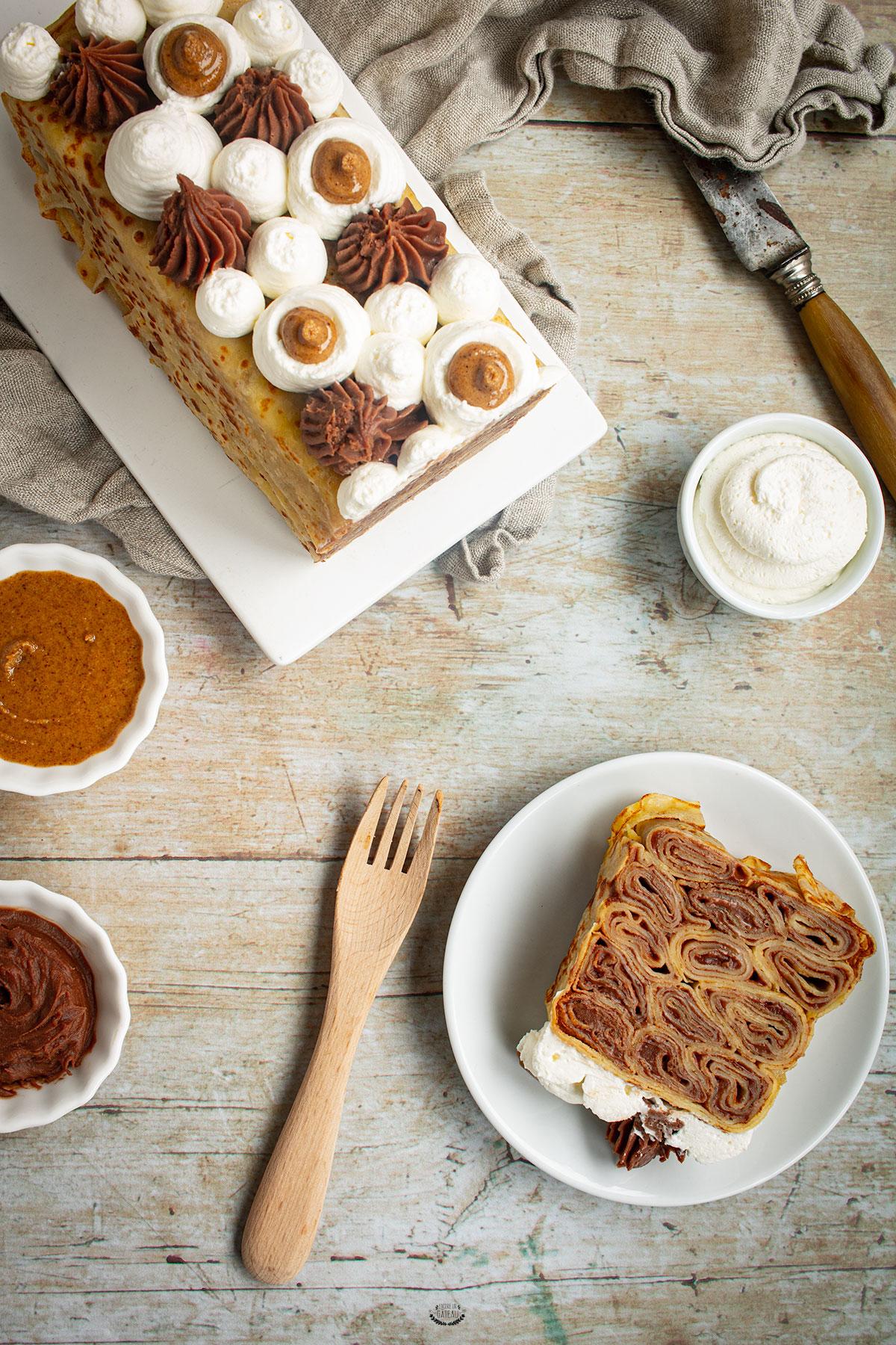 gâteau de crêpes chocolat praliné façon terrine
