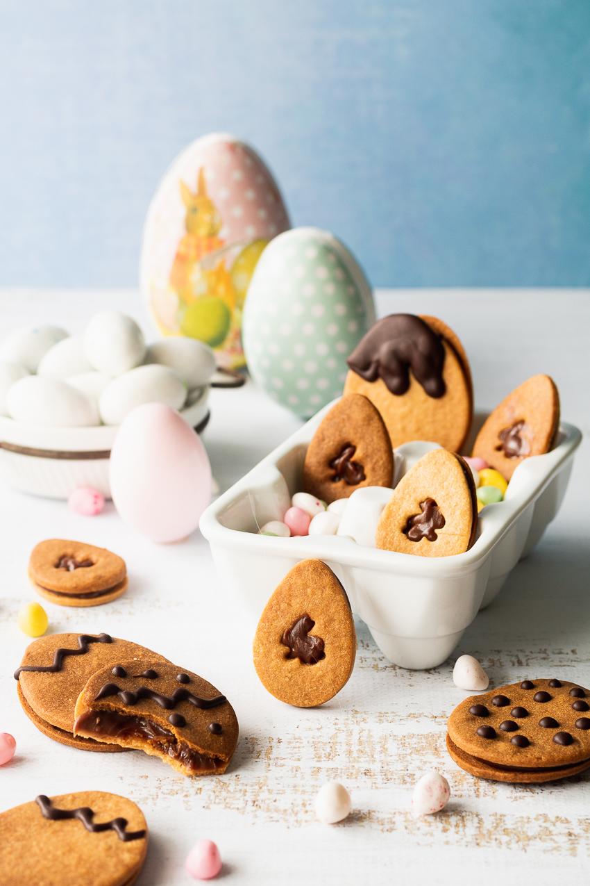 biscuits sablés fourrés chocolat pour pâques