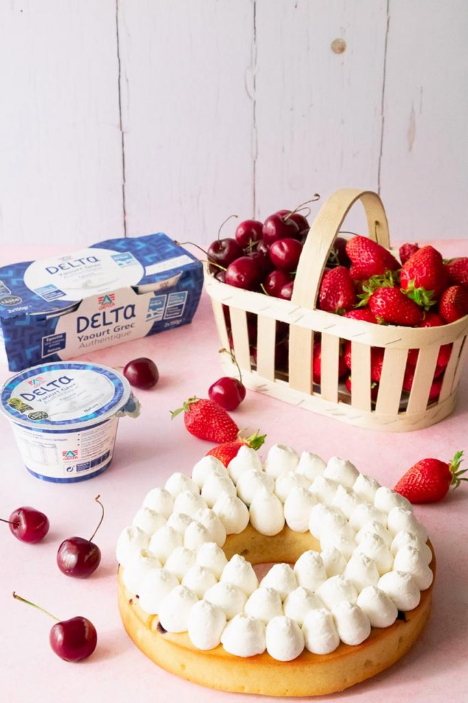 gâteau yaourt grec couronne fruits