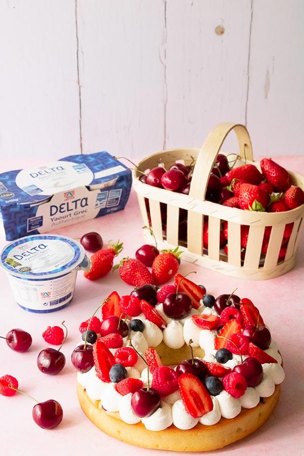 recette gâteau couronne fruits yaourt grec