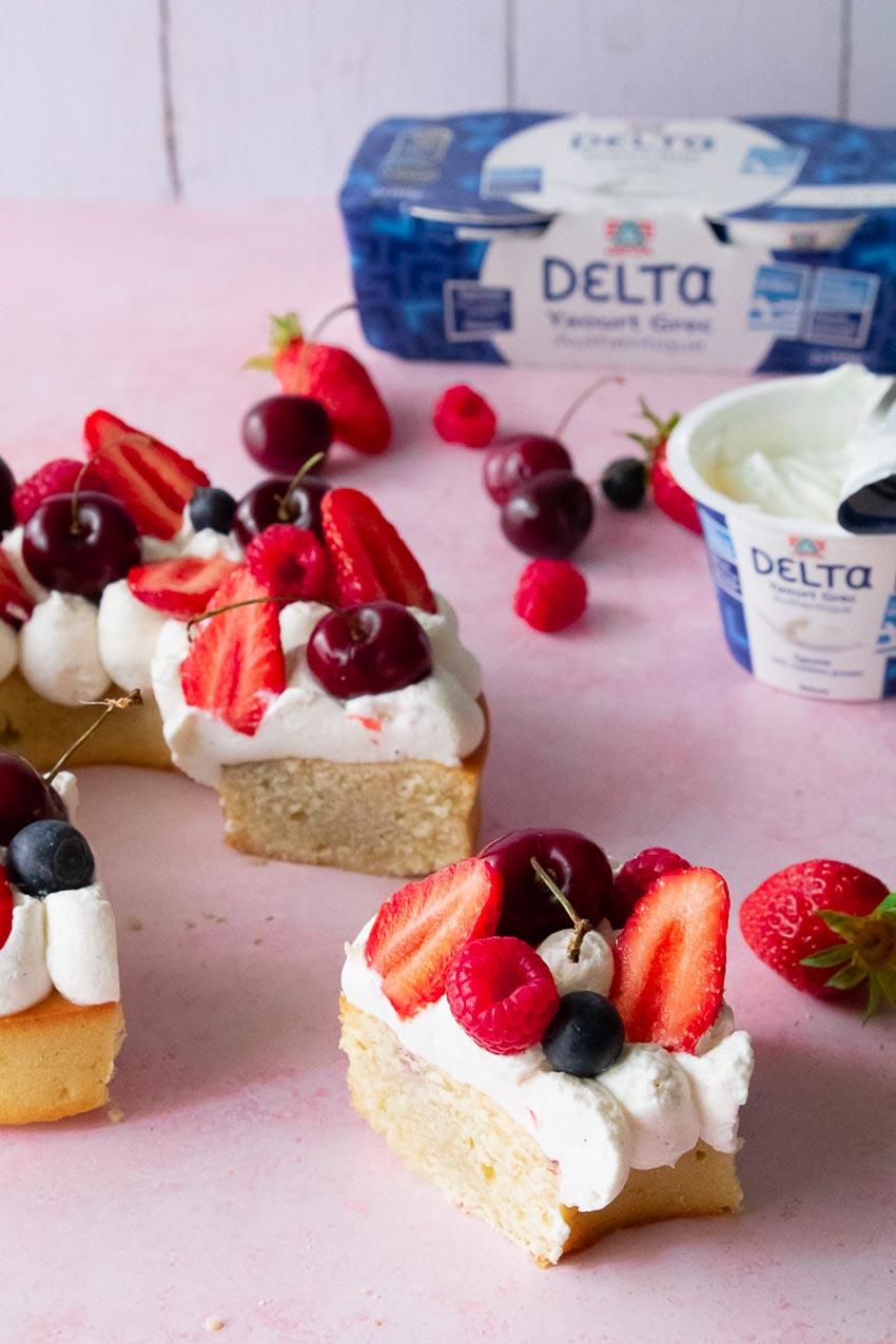 recette gâteau facile couronne de fruits