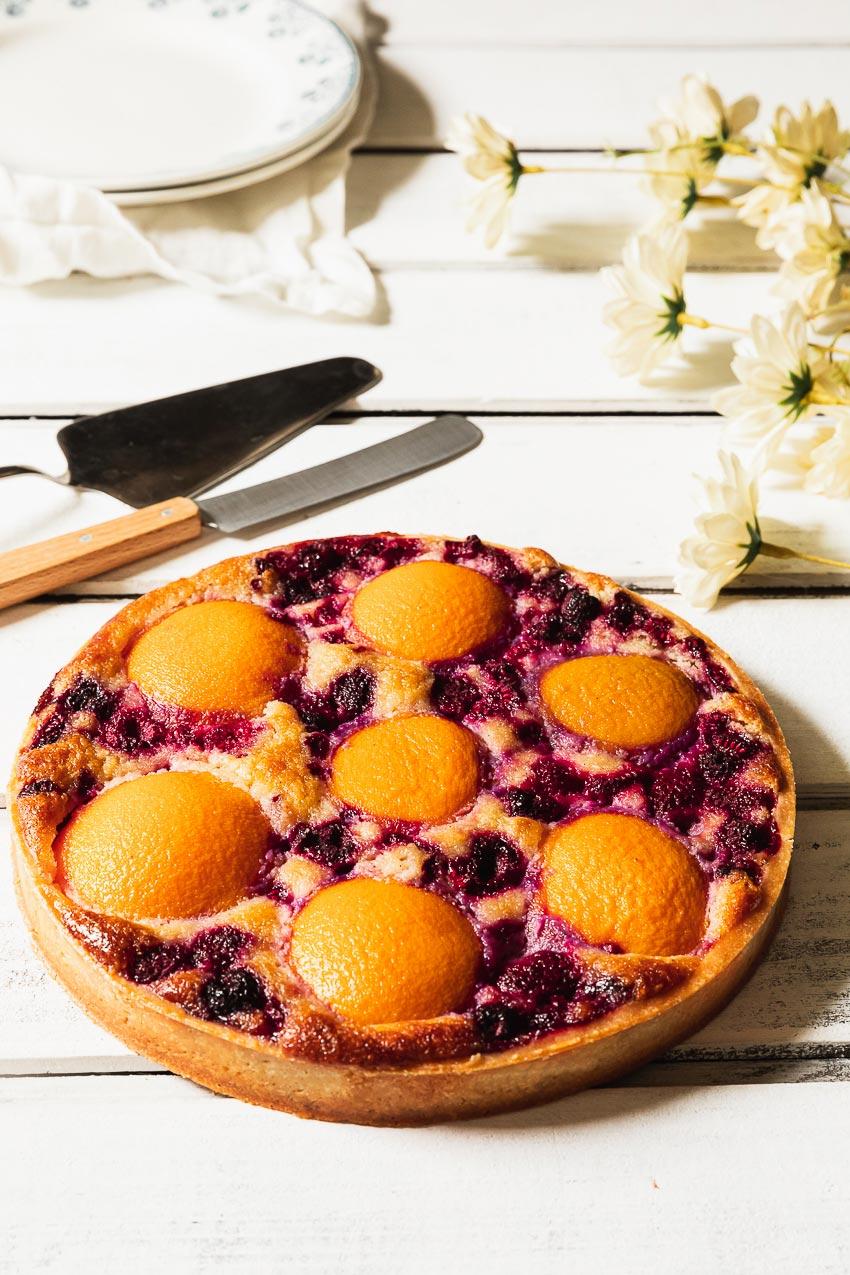 recette tarte pêche framboise