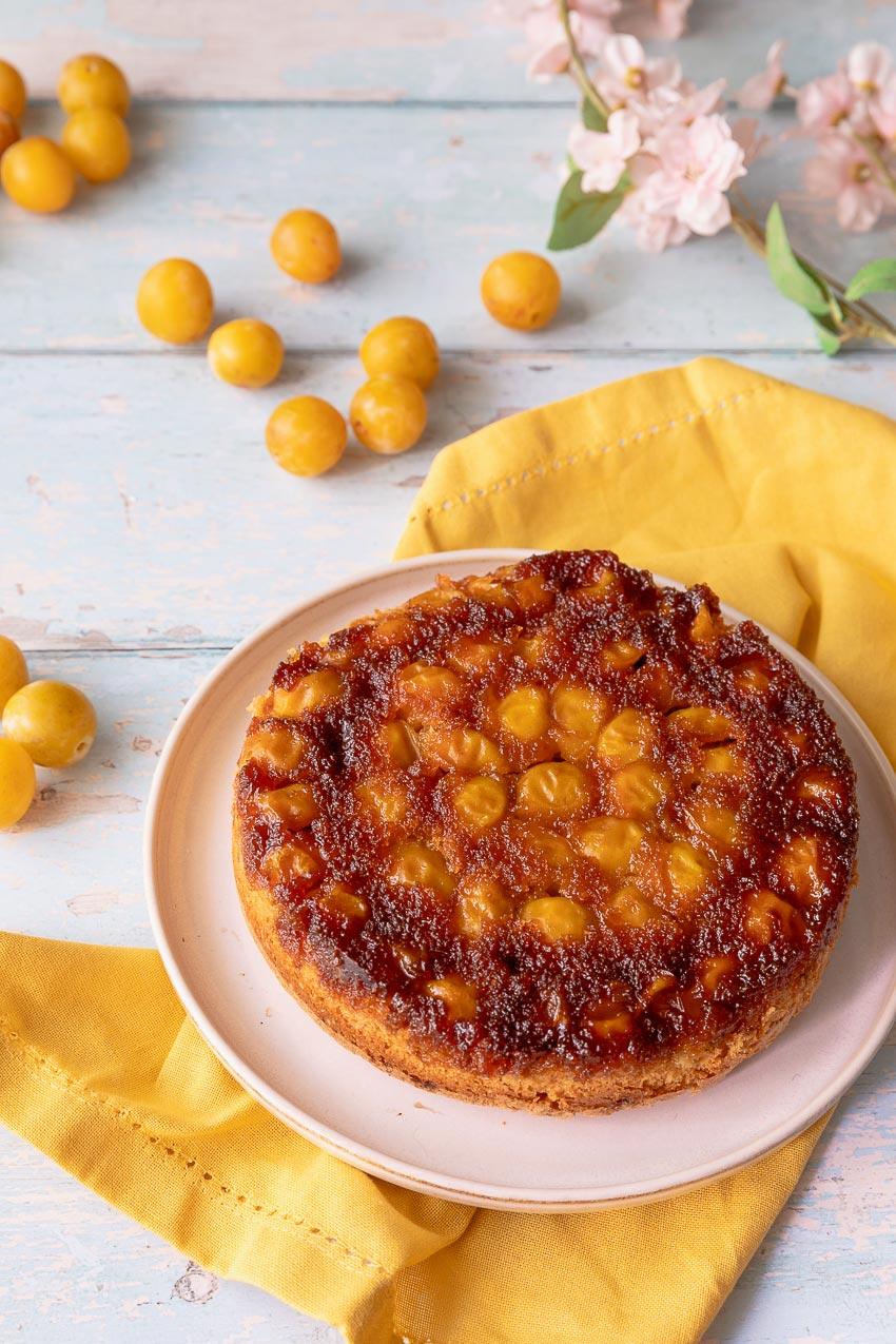 gâteau renversé aux mirabelles et caramel